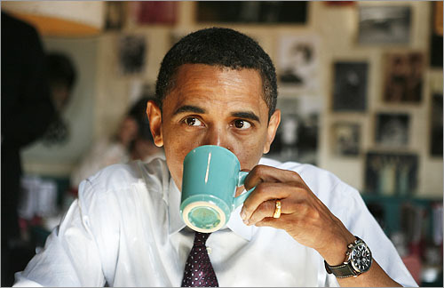 Barack Obama Drinks Coffee